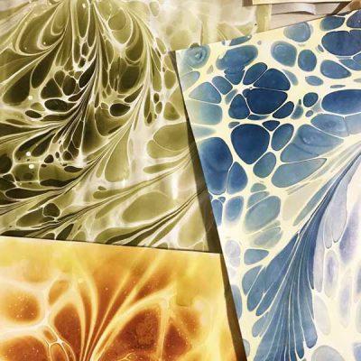 ساخت کاغذ ابر و باد برای خوشنویسی